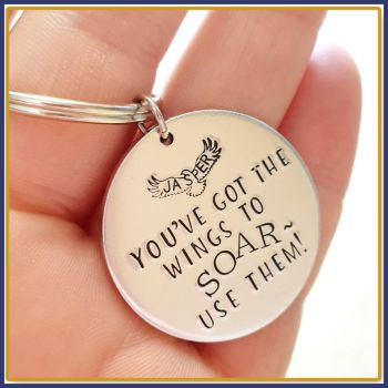Personalised Motivational Eagle Keyring Gift - Wings To Soar Gift - Be Strong Keychain - Be Free Motivational Eagle Gift - Affirmation Gift