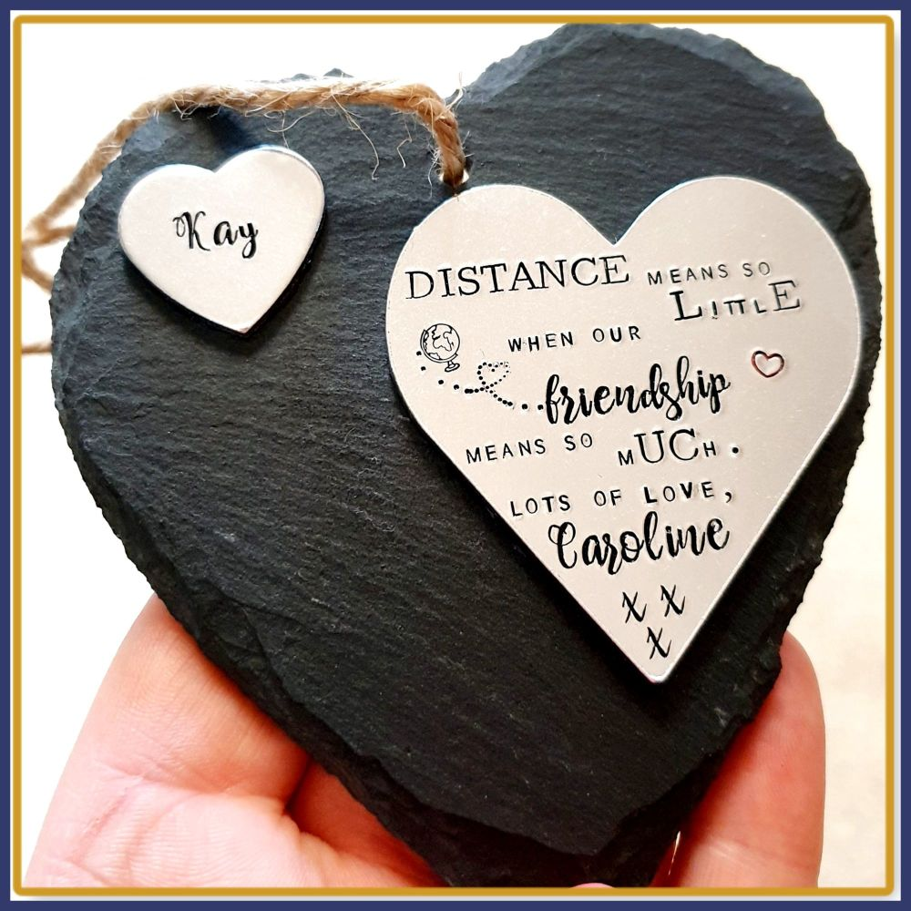 Personalised Friendship Gift - Slate Friendship Plaque - Distance Means So