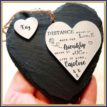 Personalised Friendship Gift - Slate Friendship Plaque - Distance Means So Little Plaque - Missing You Friend Gift - Special Friend Distance
