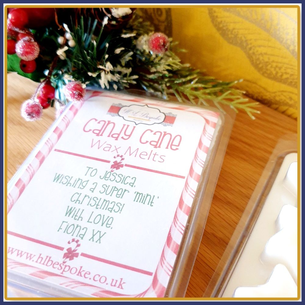 Personalised Christmas Candy Cane Wax Melts in Star Clam Shell - Candy Cane