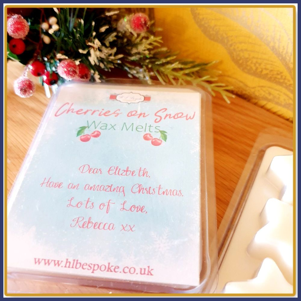 Personalised Christmas Cherries On Snow Wax Melts in Star Clam Shell - Cool