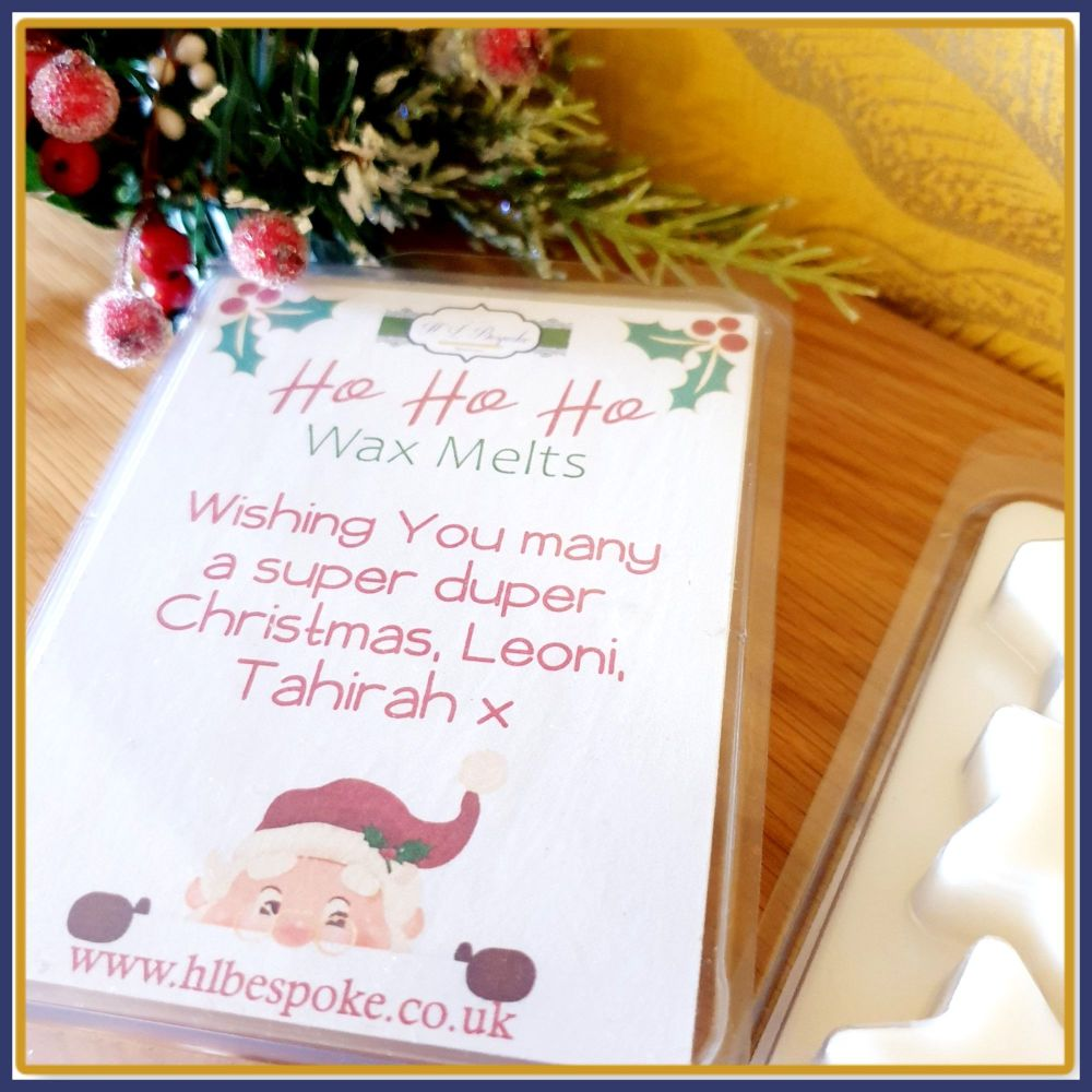 Personalised Christmas Mince Pie Wax Melts in Star Clam Shell - Ho Ho Ho Ch