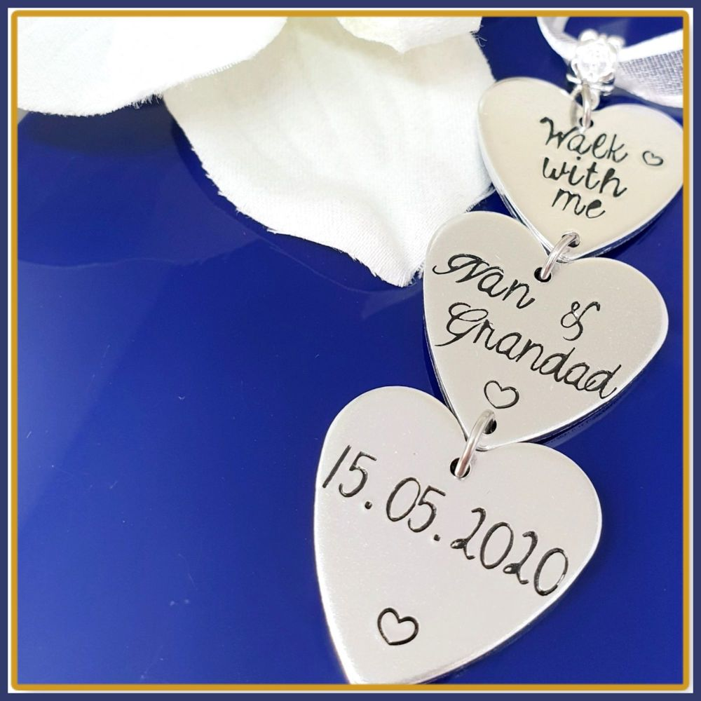 Fully Personalised Memorial Bridal Bouquet Charm Just Names, Wedding Bouque