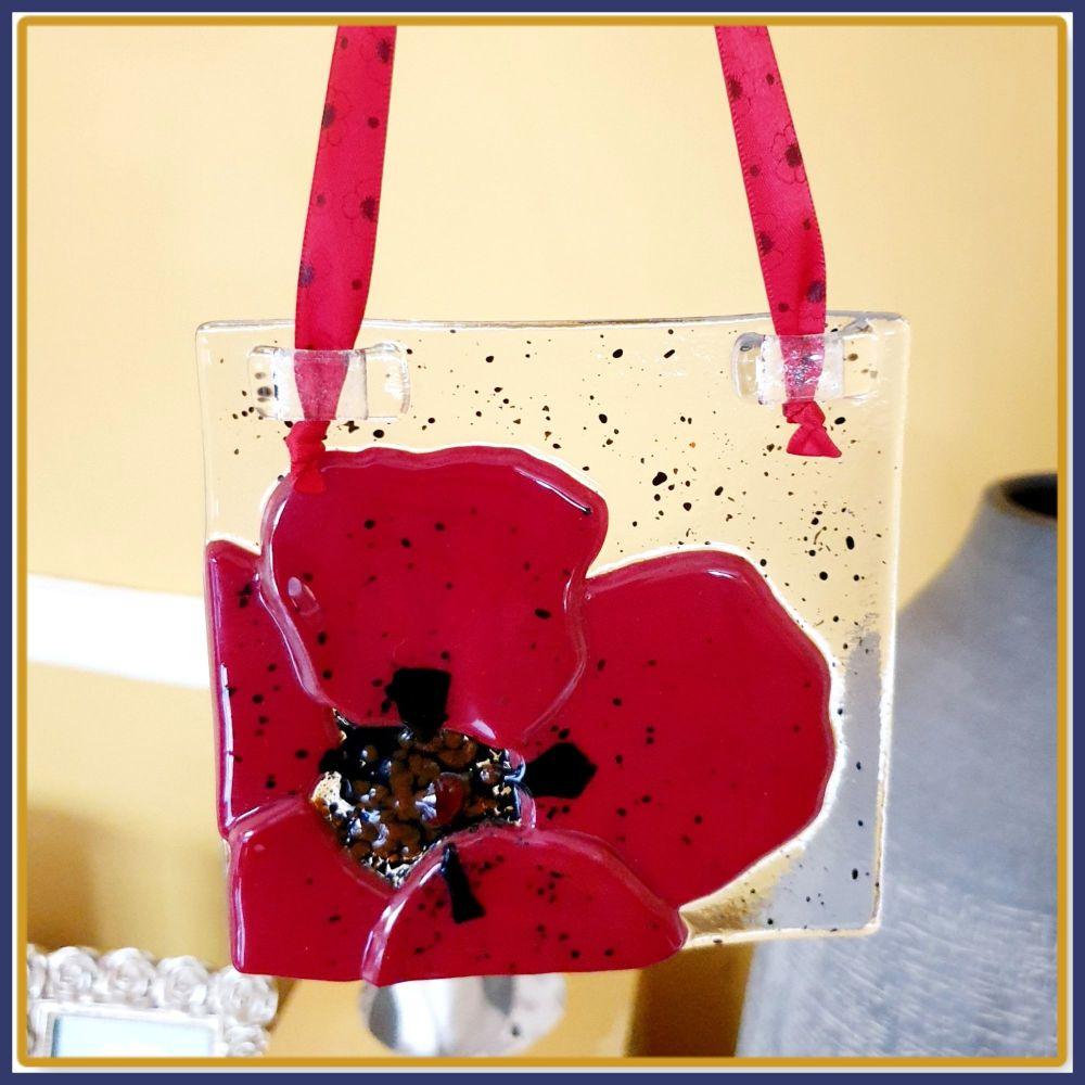 Gift Boxed Deep Red Poppy Fused Glass Handing - Suncatcher Poppy Light Catc