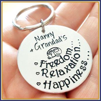 Personalised Caravan Keyring - Freedom Relaxation Caravan Keychain - Caravan Key Fob - Caravan Accessories - Caravan Gift - Holiday Gift