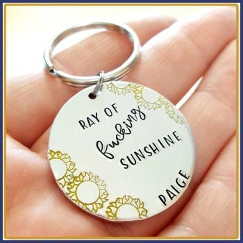 Ray Of Fucking Sunshine Keyring - Profanity Sunshine Gift - Gift For Moody Person - Ray Of Sunshine Keyring