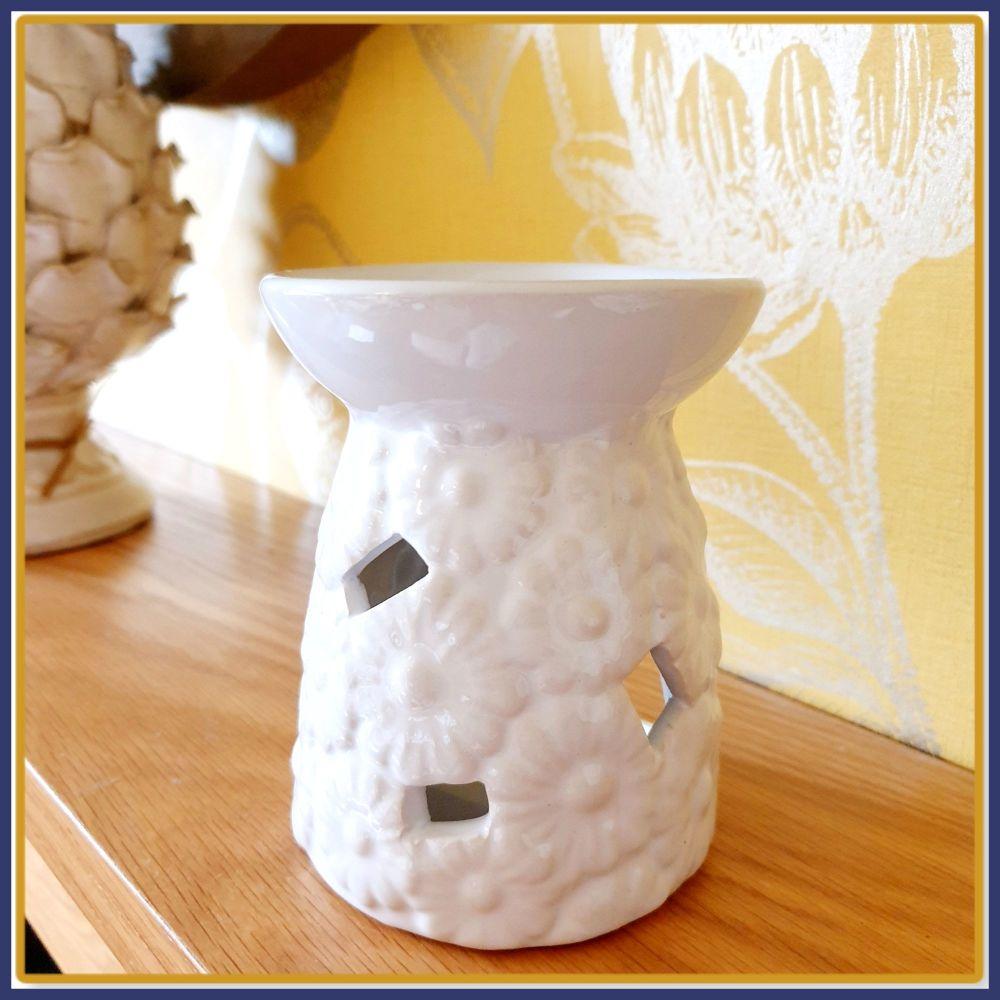 White Ceramic Daisy Wax Melt Burner & Wax Melt Samples - Flower Wax Melt Gi