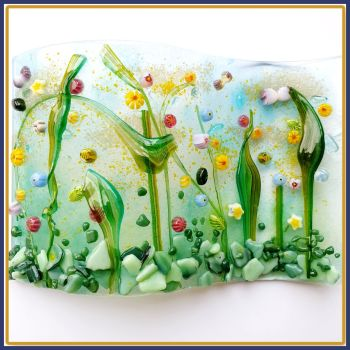 Large Freestanding Wildflower Meadow Fused Glass Tea Light Candle Wave Art - Pretty Colourful Glass Art Curve With Bees - Glass Suncatcher