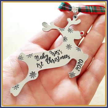 Personalised Baby Girl's First Christmas Decoration - New Baby Christmas Tree Hanging - Rudolph Christmas Decoration - Baby's First Decor