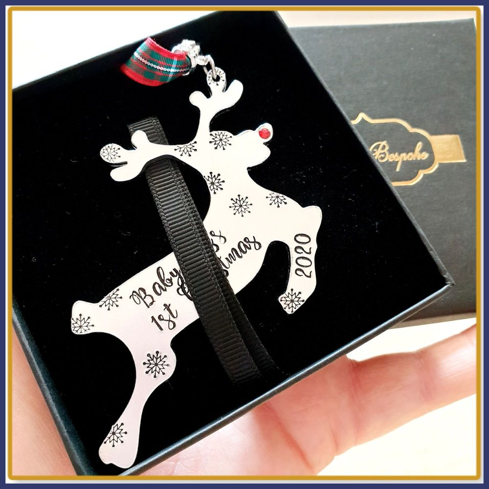 Personalised Baby Boy's First Christmas Decoration - New Baby Christmas Tre