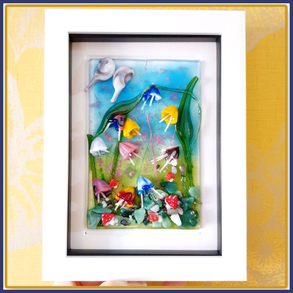 Framed Whimsical Fused Glass Fairy Garden Wall Art - Colourful Fused Glass