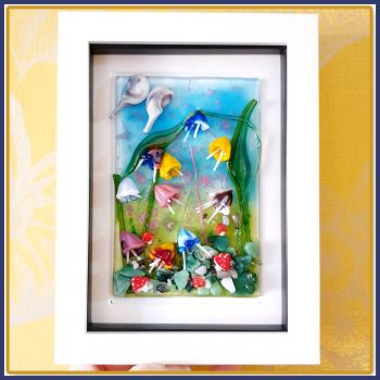 Framed Whimsical Fused Glass Fairy Garden Wall Art - Colourful Fused Glass Art With Butterfly & Mushrooms - Fused Glass Meadow Art Home Decor