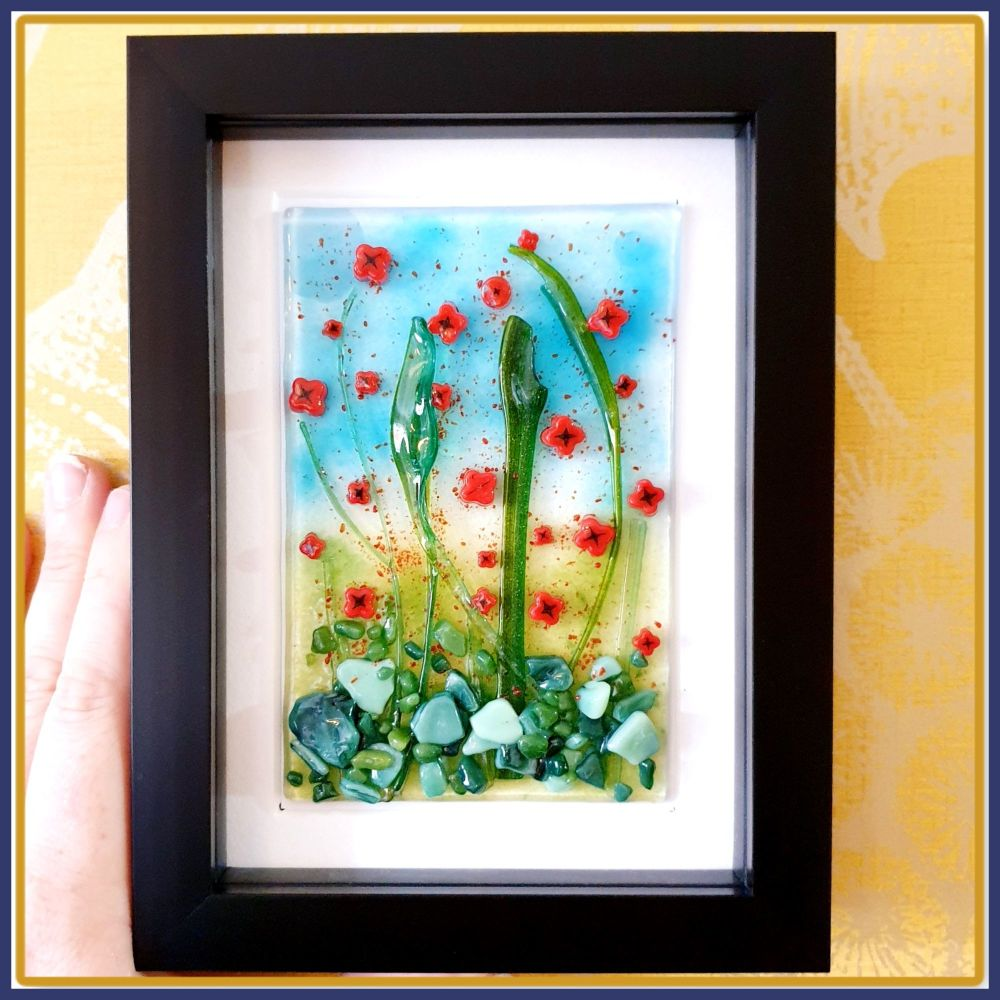 Framed Red Poppies Fused Glass Garden Wall Art - Colourful Poppy Home Decor
