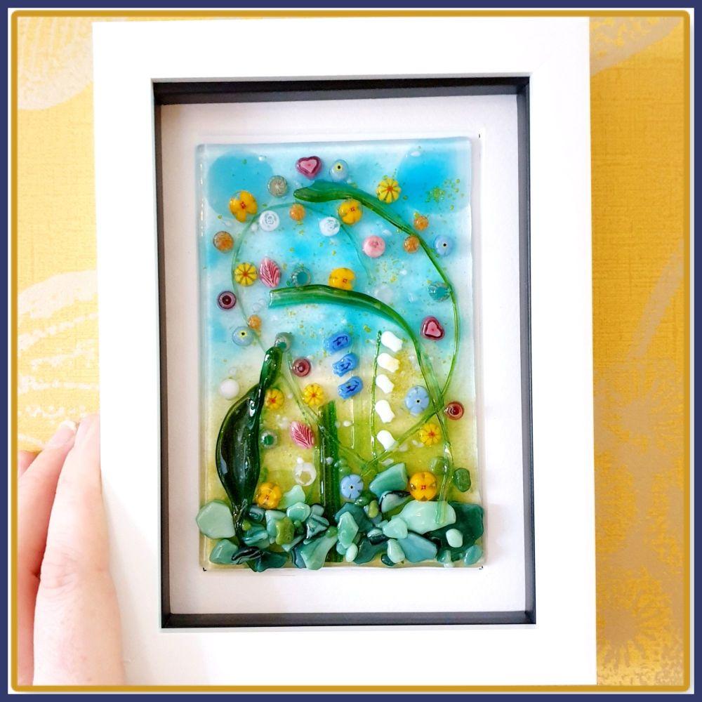 Framed Fused Glass Flower Meadow Garden Wall Art - Colourful Meadow Home De