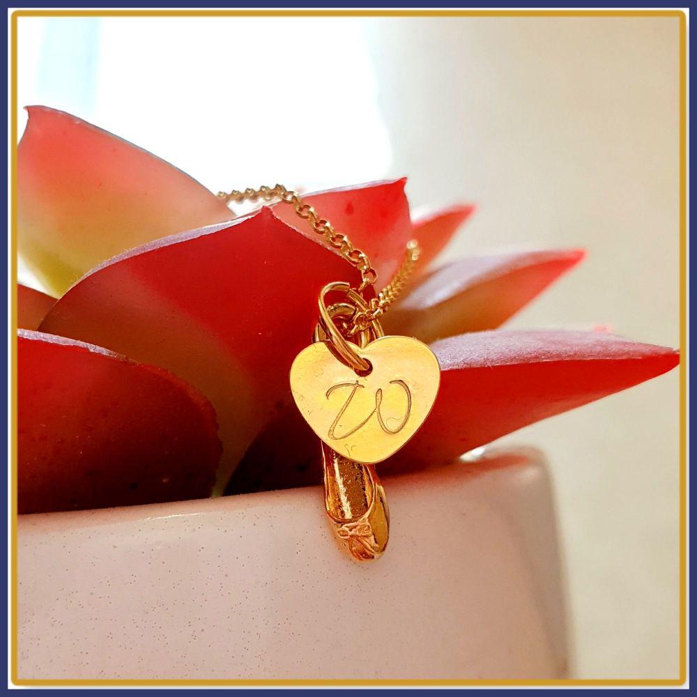 Personalised Gold Ballet Dancer Necklace - Gold Ballet Necklace - Gift For