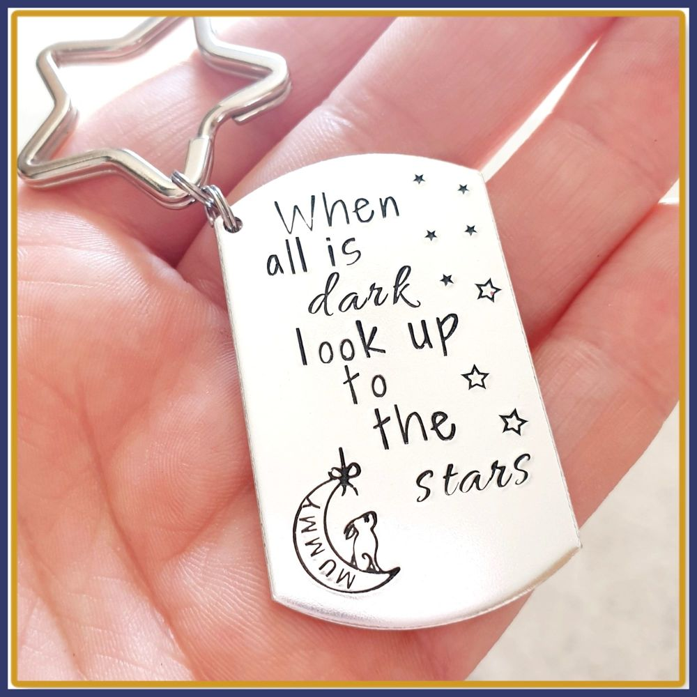 When All Is Dark Look Up At The Stars Keyring - Hare and Moon Gift - Wish K