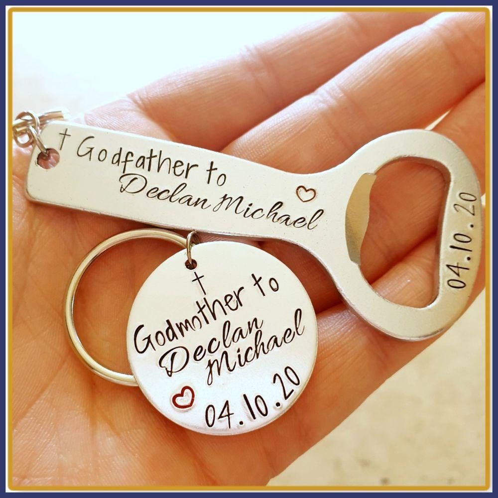 Godmother & Godfather Gifts - Godfather Bottle Opener And Godmother Keychai