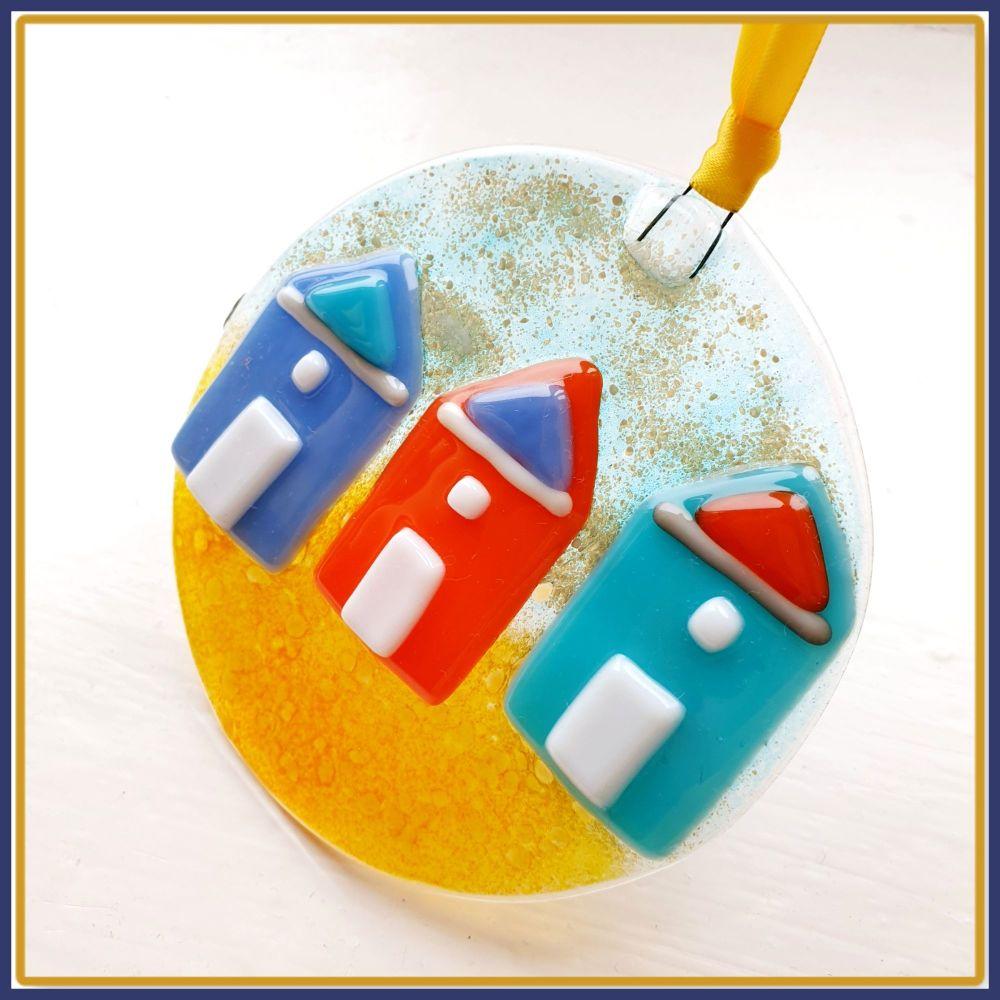 Gift Boxed Fused Glass Beach Hut Hanging Suncatcher Gift - Multiple Beach H