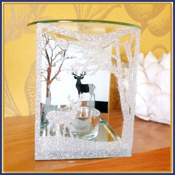 Stunning Sparkly Stag Christmas Scene Wax Melt Burner With Wax Melt Samples - Silver Glitter Christmas Wax Melter With Stags - Stag Wax Melt