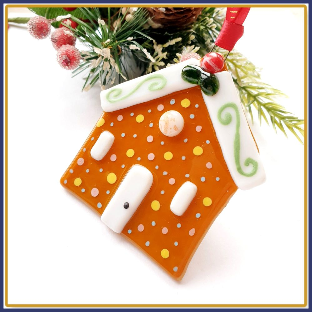 Large Gift Boxed Fused Glass Gingerbread House Christmas Tree Decoration Or
