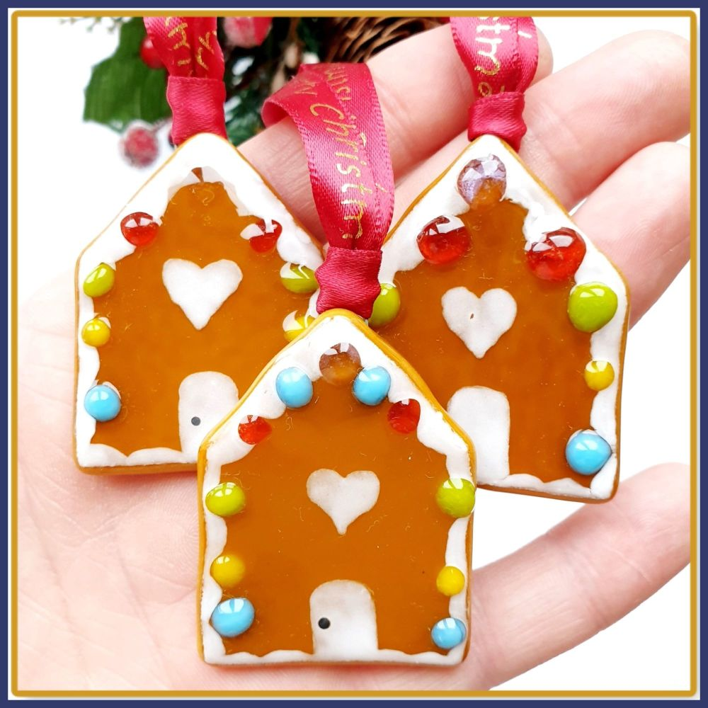 Small Fused Glass Gingerbread House Christmas Tree Decoration Ornament - Cu