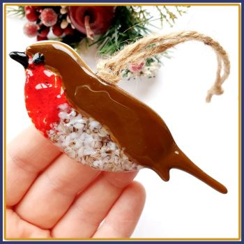 Gift Boxed Fused Glass Robing Christmas Tree Decoration Ornament - Robins Appear When Angels Are Near Decoration - Red Robin Tree Ornament