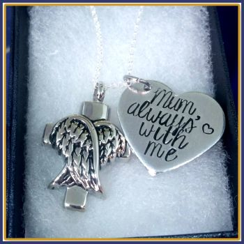 Personalised Cremation Urn Necklace - Cremation Urn Pendant - Angel Wing Urn Jewellery - In Memory Of Jewellery -  Cremation Jewellery Personalised Cr