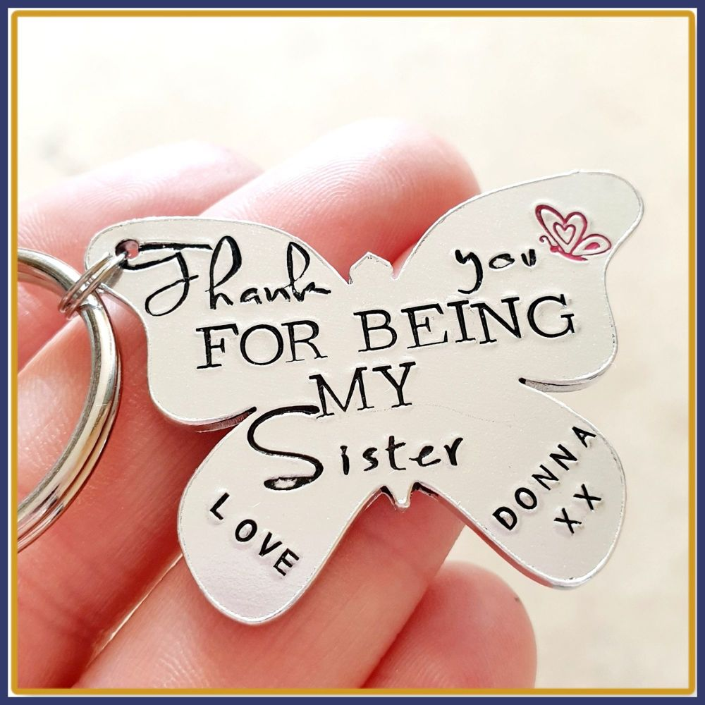 Personalised Sister Gift - Sister Keyring - Thank You Sister Gift - Thank Y