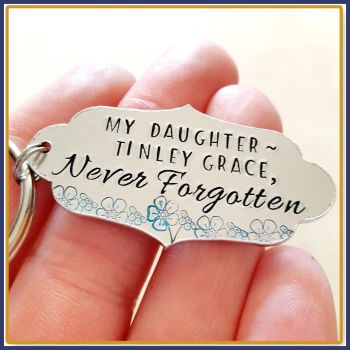 Personalised Memorial Gift for Loss of Daughter - Daughter Memorial Gift - Never Forgotten Memorial Keyring - Forget Me Not Bereavement