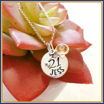 Personalised Sterling Silver 21st Birthday Pendant Necklace With Key To The Door - Jewellery For 21st Birthday - Sweet 16th Birthday For Her