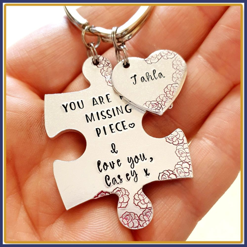 Personalised Missing Piece Keyring - Puzzle Piece Keyring - Girlfriend You'
