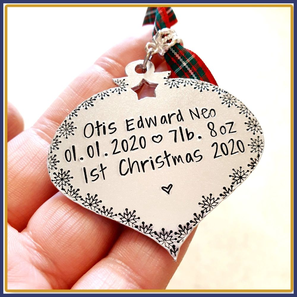 Personalised Baby's 1st Christmas Decoration - New Baby Tree Ornament - New
