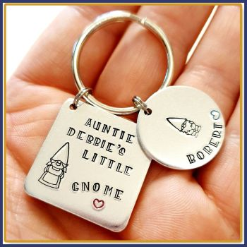 This Auntie Belongs To Gnome Keyring - Gnome Gift For Auntie - Uncle Gnome Keyring - Nanny's Little Gnomes Gift - Gnome Family Gift For Nan