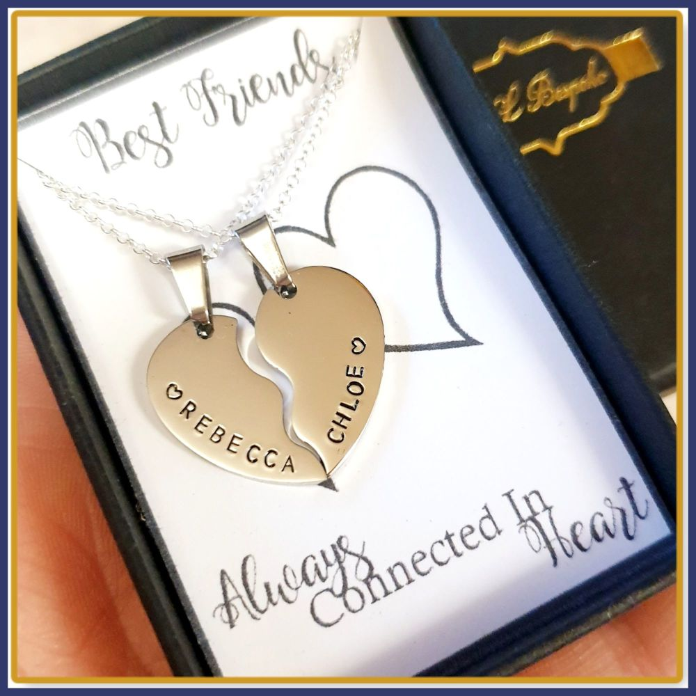 Personalised Best Friends Split Heart Pendant Necklace Gift - Heart Pendant