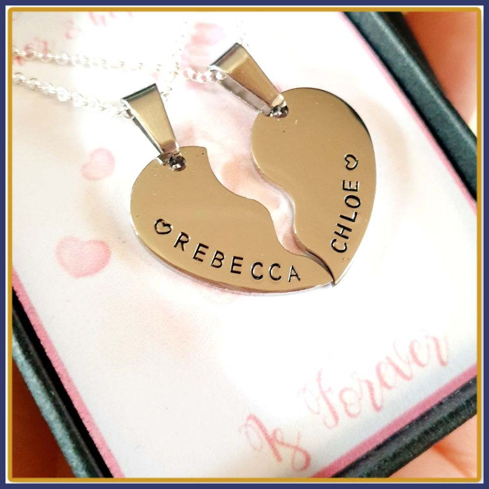 Personalised Mother Daughter Split Heart Pendant Necklace Gift - Daughter H