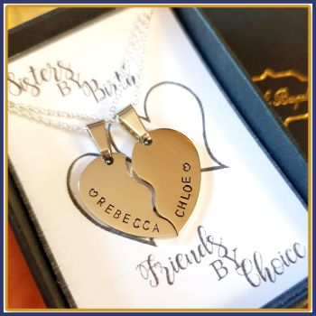 Personalised Sisters Split Heart Pendant Necklace Gift - Daughter Heart Pendant - Sisters By Birth Friends By Choice Gift - 2 Sister Gift
