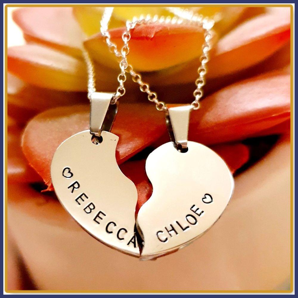 Personalised Split Heart Pendant Necklace Gift - Split Heart Jewellery - Sp