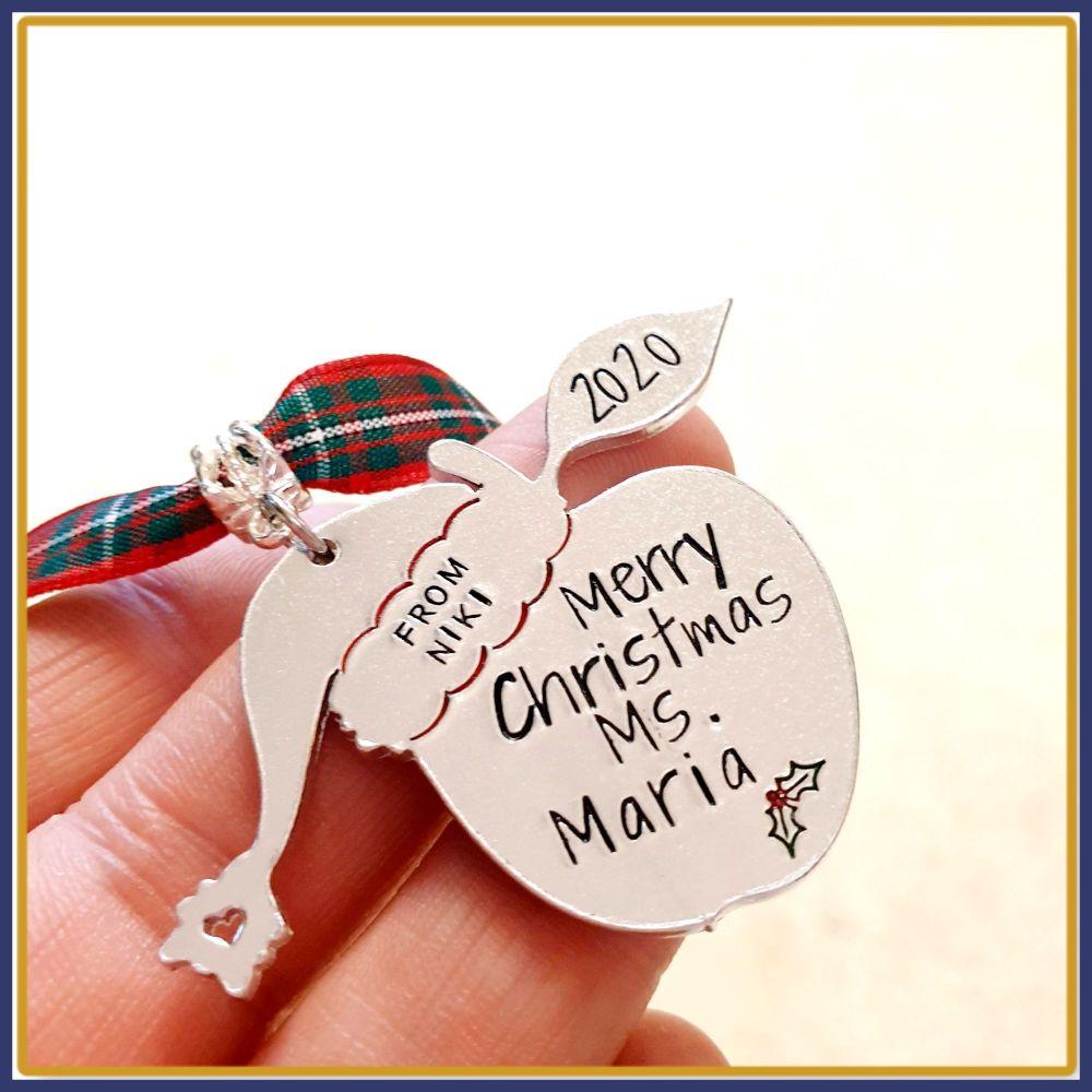 Personalised Teacher Keyring Christmas Gift - Christmas Gift For Teachers -