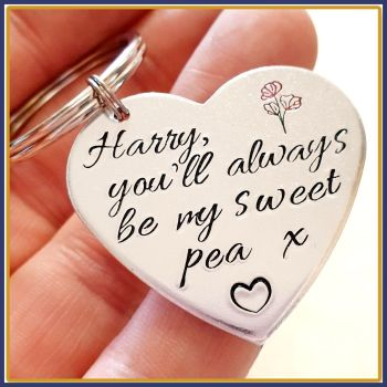 Personalised You'll Always Be My Sweet Pea Keyring Gift - Mother Daughter Gift - Cute Gift For My Daughter - Always Daughter Keyring Gift