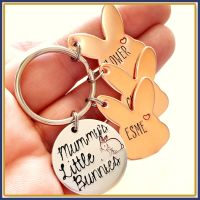 Personalised Mummy's Bunnies Keyring - Bunny Keychain for Mummy - Rabbit Gift - Mummy Bunny Gift - Mummy & Baby Gift - Rabbit Keyring