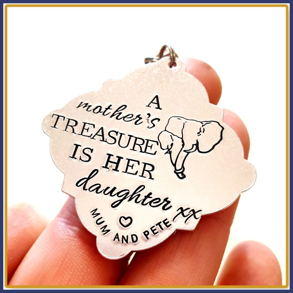 Mother Daughter Keyring - Elephant Keyring - A Mother's Treasure Is Her Dau
