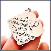 Mother Daughter Keyring - Elephant Keyring - A Mother's Treasure Is Her Daughter - Mother Daughter Gift - OWN WORDING - Elephant Gift