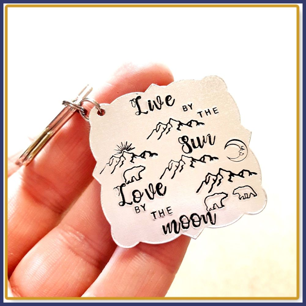 Live By The Sun Love By The Moon Gift - Landscape Keyring - Mountain Range