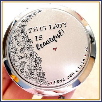 Personalised Compact Mirror - This Lady Is Beautiful - You Are Beautiful Gift - Pick Me Up Gift - Gifts For Women - Make Up Addict Gift