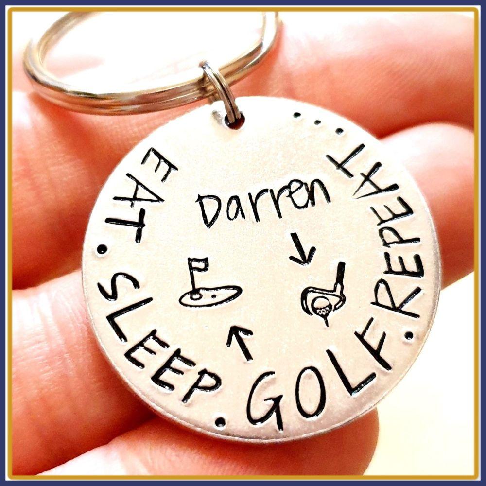 Personalised Golfer Keyring - Eat Sleep Golf Repeat Keyring - Custom Golfer