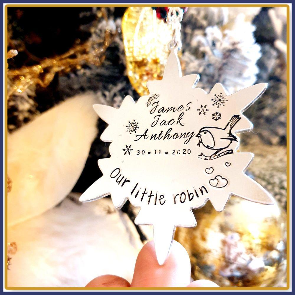 Personalised Baby Loss Memory Christmas Decoration - Memory Robin Tree Hang