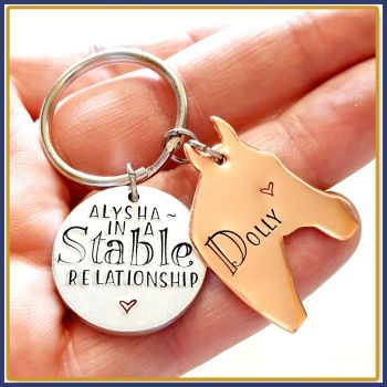 Personalised Horse Owner Keyring Gift - Funny In A Stable Relationship Keyring For Horse Rider - Horse Rider Gift - Cute Horse riding Gift