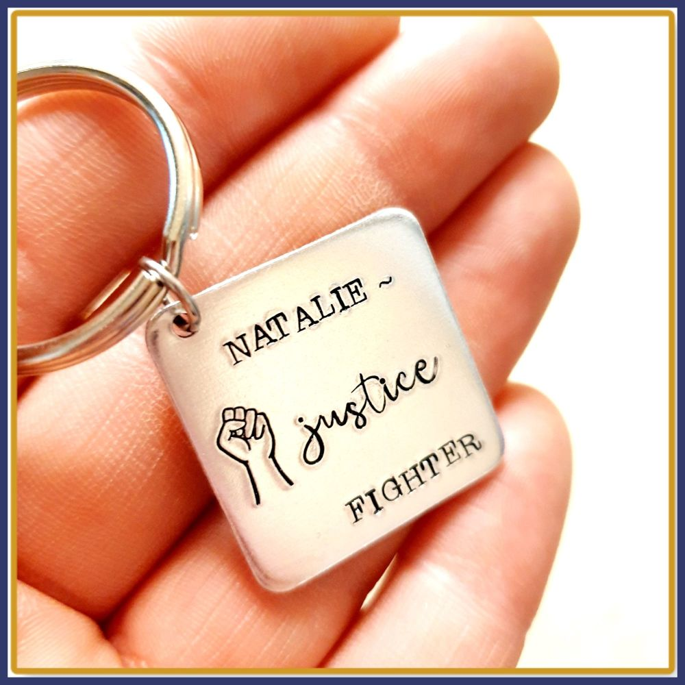 Personalised Fist Justice Fighter Keyring - Fist Gift Keychain - Justice Pe
