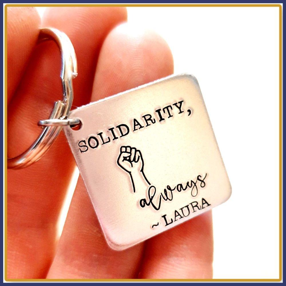 Personalised Fist Solidarity Keyring - Fist Gift Keychain - Solidarity Alwa