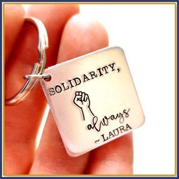 Personalised Fist Solidarity Keyring - Fist Gift Keychain - Solidarity Always Keyring - BLM Keyring - Together Feminism Keyring